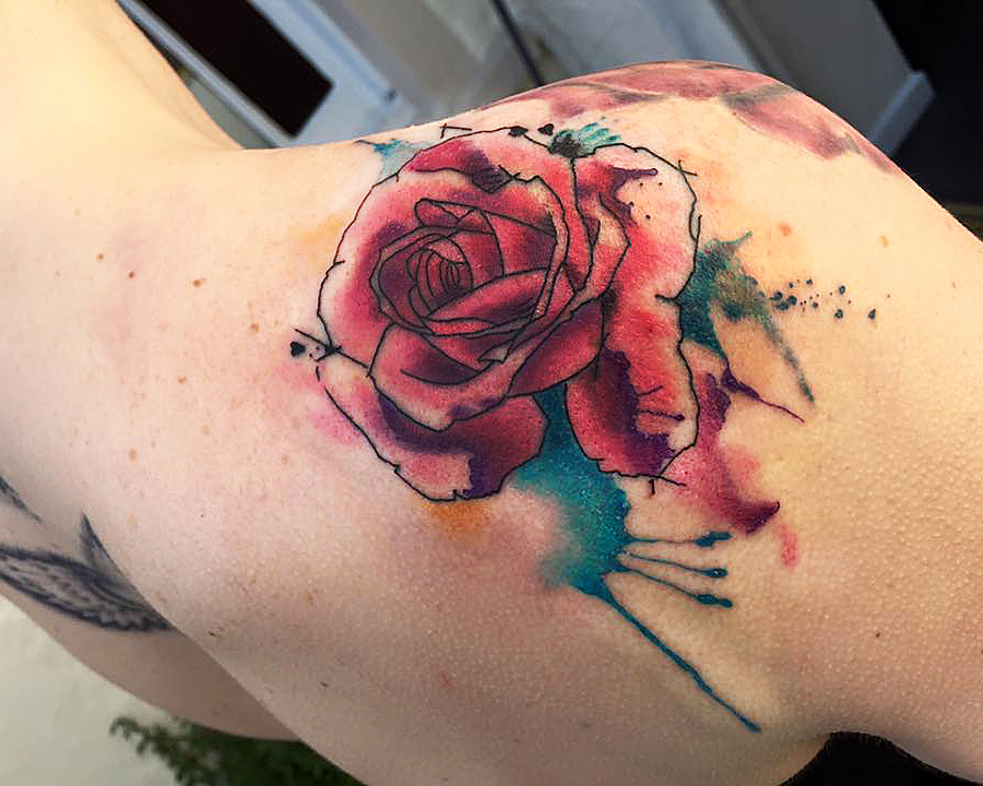 Watercolour Rose Tattoo. Somerset