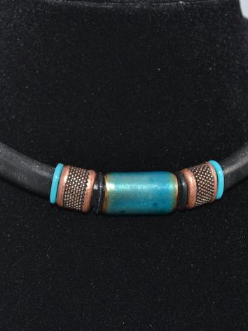 Copper Enamel Bead Choker