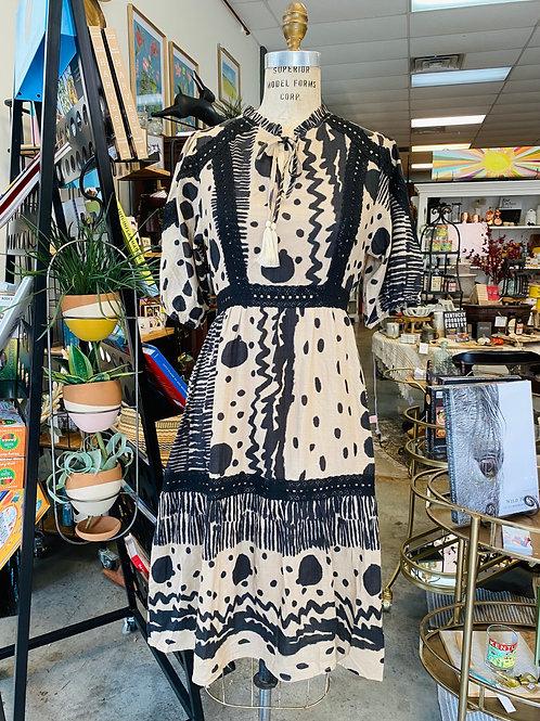 Black and Tan Polka Dot Dress
