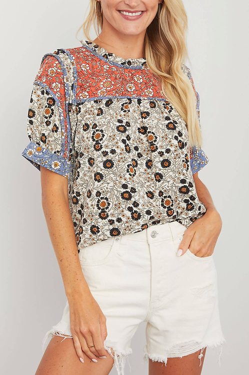 THML Floral Print Short Sleeve Top