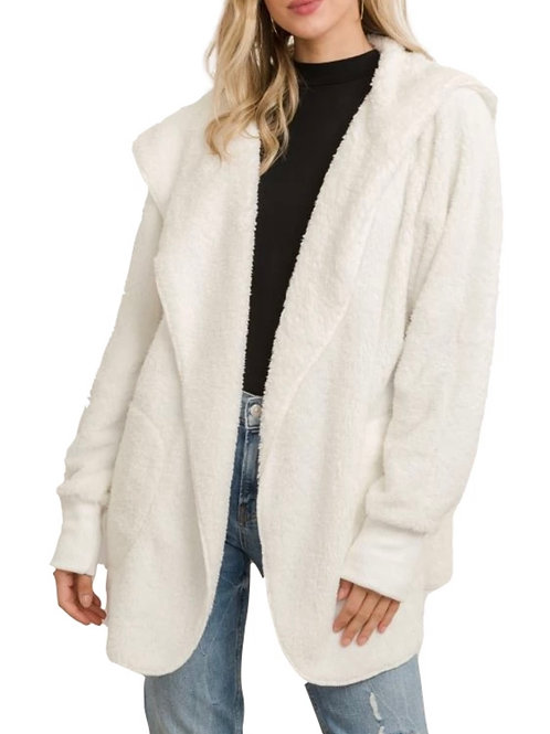 Hem and Thread Sherpa Shirt Jacket