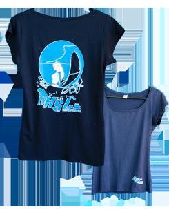 T-Shirt Col Large Femme Bleu
