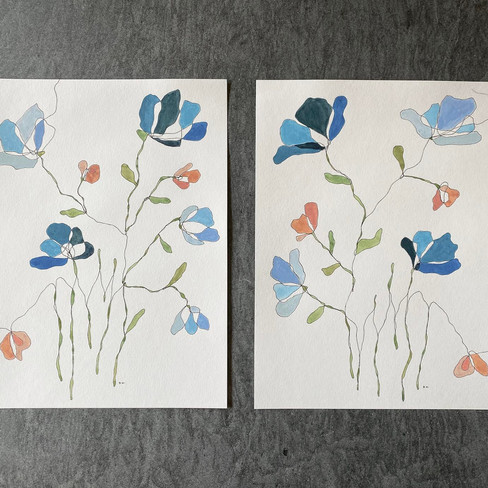 """12"""" x 16"""" each   watercolor and ink on paper"""