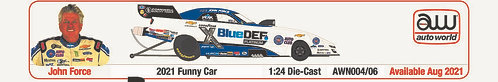 NEW PRE-ORDER!! 2021 John Force BlueDef Platinum Chevrolet Camaro NHRA Funny Car