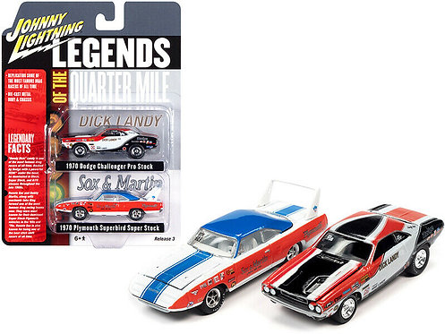 Johnny Lightning 2 car set!! 1970 Sox & Martin + 1970 Dick Landy Pro Stock Cars