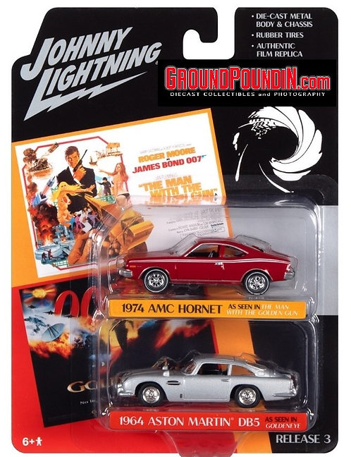 Johnny Lightning 2 cars James Bond 1974 AMC Hornet Red & 1964 Aston Martin DB5
