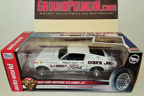 "NEW! 1968 Hubert Platt's ""Paul Harvey Ford"" Cobra Jet Super Stock E Mustang 1/18"