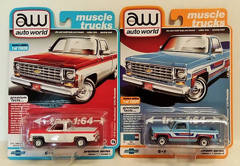 NEW! 2 Trucks Olympic Edition & Spirit of 76 Chevy C-10 Fleetside Pick-Ups 1/64