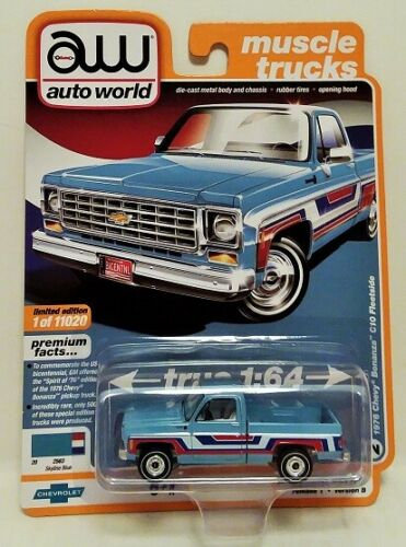 NEW AutoWorld Spirit of 76 Edition 1976 Chevy Bonanza C10 Fleetside Rel.1 Ver.B