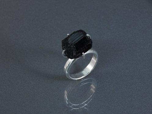 Brazilian Uncut Obsidian Sterling Ring
