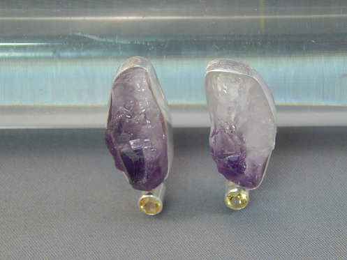 Uncut Amethyst Earring with Faceted Citrine