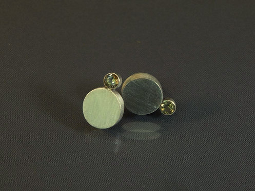 Brushed Sterling Disk Earrings with Citrine