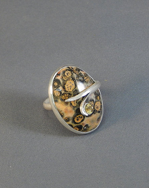 Leopard Jasper and Citrine Ring