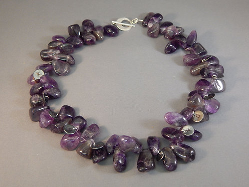 Amethyst Pebble Charm Necklace