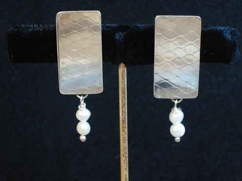 Embossed Sterling Silver & Pearl Drop Earrings