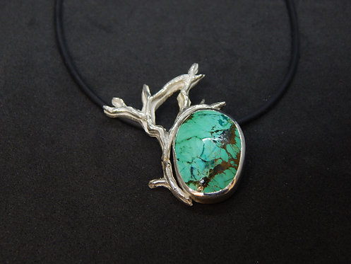 Single Sterling Silver Branch with Turquoise Focal