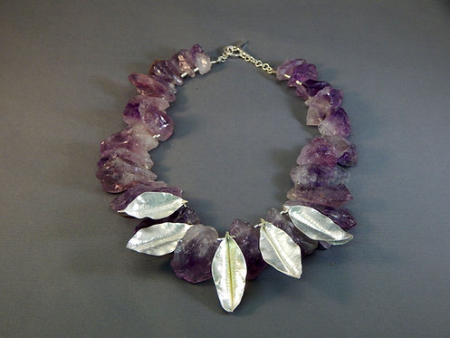 Uncut Amethyst Stones with Fine Silver Leaves