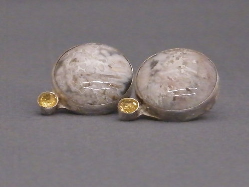 Howlite and Faceted Citrine Earrings