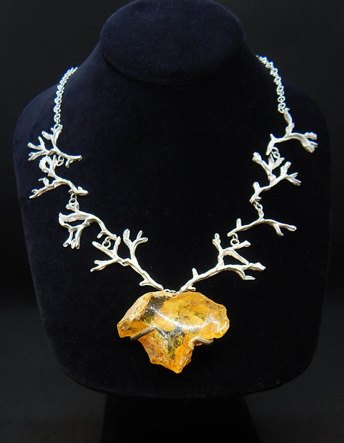 Sterling Silver Branch Necklace w/Uncut Amber