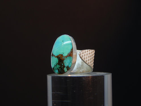 Sterling Embossed Turquoise Ring