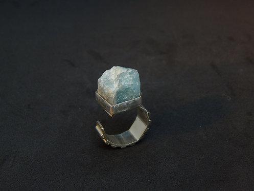 Sterling Silver Uncut Brazilian Aquamarine Ring