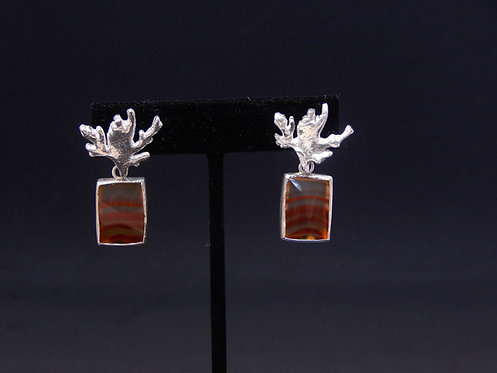 Fine Silver Coral Head and Red Agate Earrings