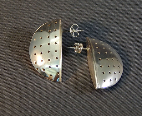 Sterling Silver Perforated Hollow Formed Earrings