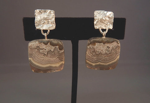 Square Reticulated Silver & Agate Earrings