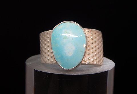 Sterling Silver Embossed Larimar Ring