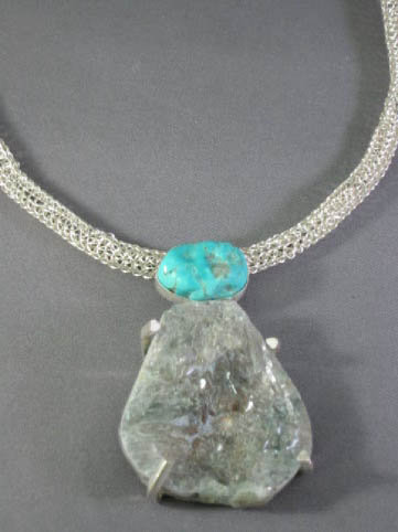 Turquoise and Quartz Drusy Necklace