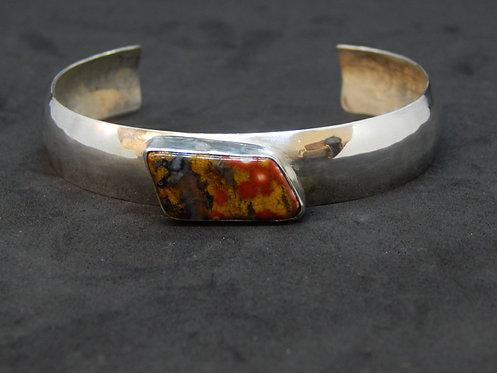 Sterling Silver Cuff Bracelet w/Poppy Jasper