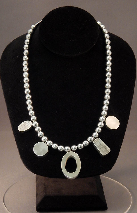 Hematite Necklace with Sterling Silver Charms
