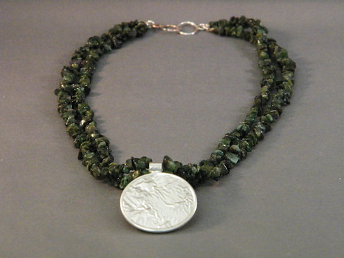 Emerald Necklace with Reticulated Focal