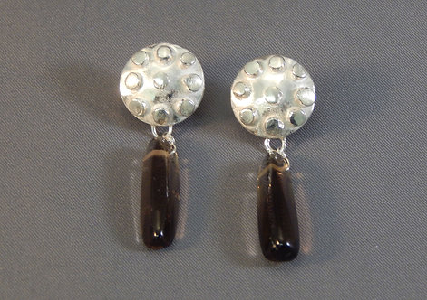 Granulated Sterling & Smokey Quartz Earrings
