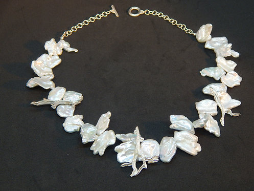 Keishi Pearl Necklace with Sterling Branches
