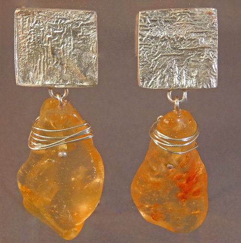 Reticulated Sterling Cubes with Uncut Amber