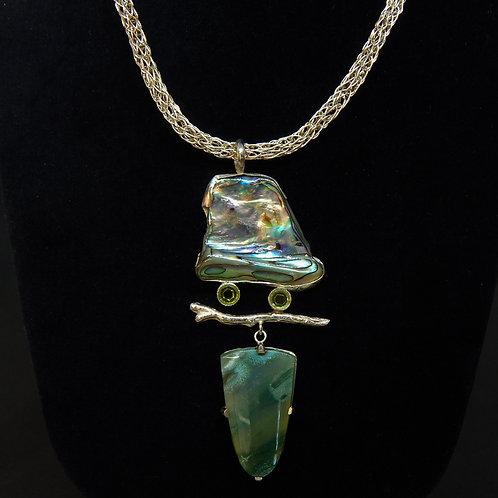 Abalone & Peridot Branch Necklace