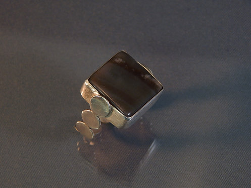 Square Agate Ring with Circles Band in Sterling