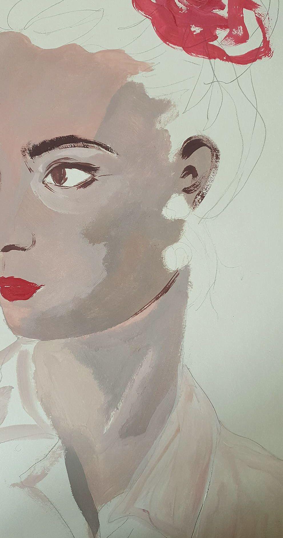 Autoportrait à la demi-fleur et à la boucle d'oreille inexistante