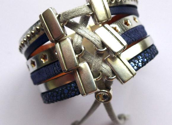 Bracelet Manchette Cuir Glam Bleu Marine et Argent
