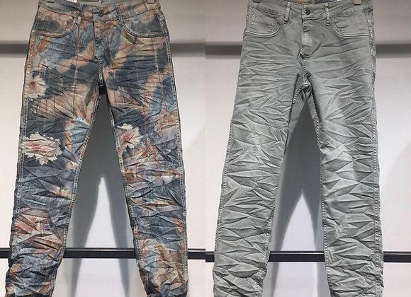 Pantalon en jean Réversible vert amande/imprimé jean