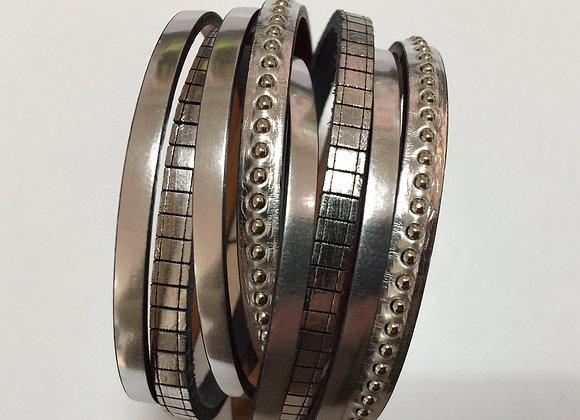 Bracelet Manchette  Double en Cuir argent