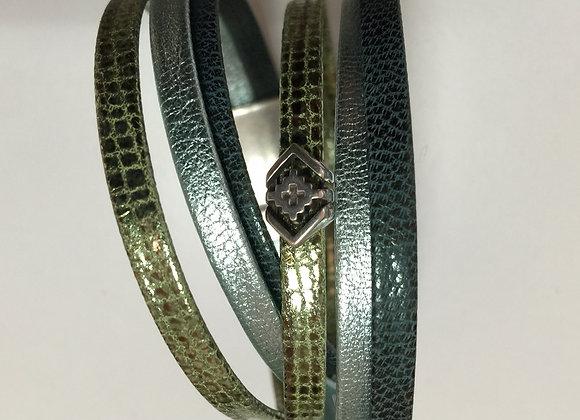 Bracelet Manchette Double en Cuir souple Bleu/Vert