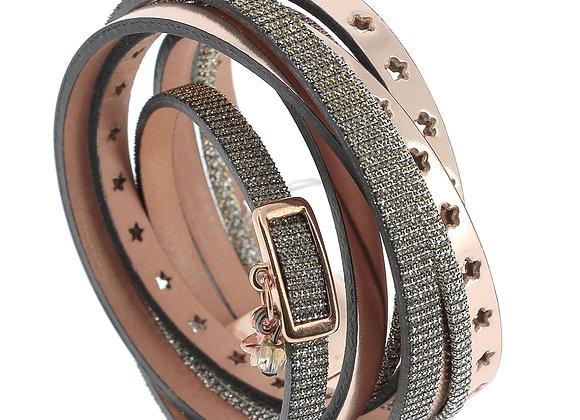 Bracelet Manchette  Double en Cuir or rose et argent