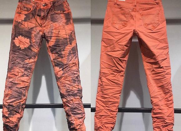Pantalon en jean réversible corail/imprimé gris