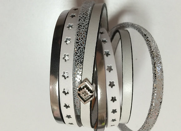 Bracelet Manchette Blanc Argent