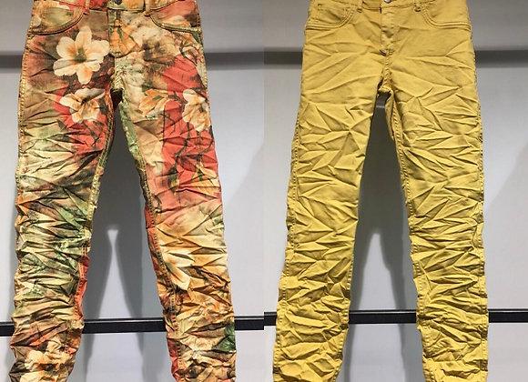 Pantalon en jean réversible jaune/imprimé fleurs