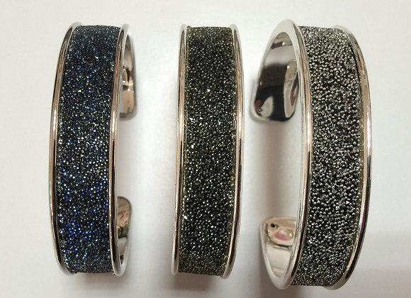 Bracelet Large Plaqué Or ou Plaqué Argent et Cristal de Swarovski