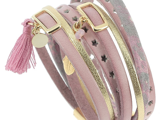 Bracelet Manchette  Double en Cuir  rose et or