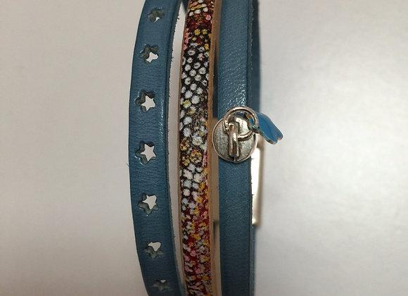 Mini Manchette Bleu Jean 3 Lanières Cuir